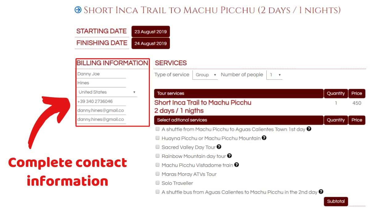 Book-Inca-Trail-2-Days-2020-Step-1